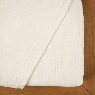 Maison Luxe Ultimate Luxury Eco-Chic Rayon from Bamboo Cotton Basket Weave Blanket