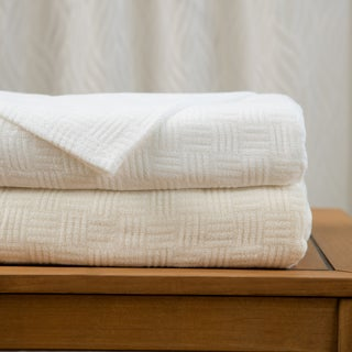 Maison Luxe Luxury Rayon from Bamboo Combed Cotton Basket Weave Blanket