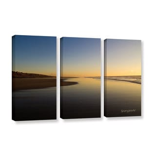 ArtWall Lindsey Janich 'Equihen Plage ' 3 Piece Gallery-wrapped Canvas Set