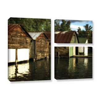 ArtWall Kevin Calkins ' Boathouses On The River 3 Piece ' Gallery-Wrapped Canvas Flag Set