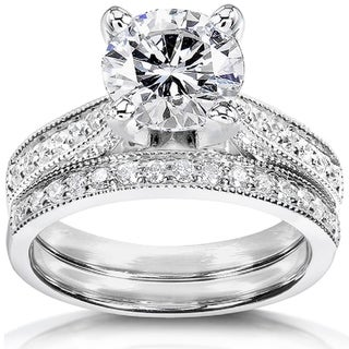 Annello by Kobelli 14k White Gold 2 1/5ct TGW Round Moissanite (FG) and Diamond (GH) 2-Piece Vintage Bridal Set