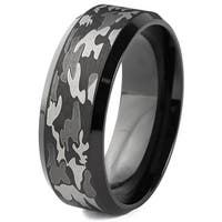 Black Plated Stainless Steel and Camouflage Band Ring (8 mm)