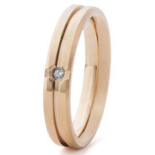 Rosegold Plated Titanium and Cubic Zirconia Grooved Titanium Ring (4 mm)