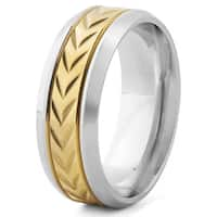 Men's Goldplated Stainless Steel Chevron Band Ring (8 mm) - Silver