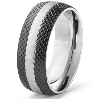 Blackplated Stainless Steel Textured and Polished Band Ring (8 mm)