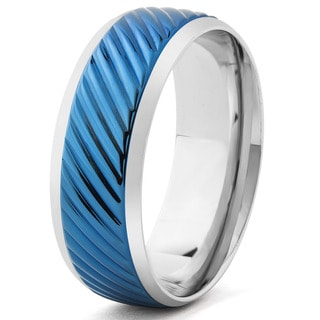 Men's Blueplated Stainless Steel Diagonal Grooved Band Ring (8 mm)