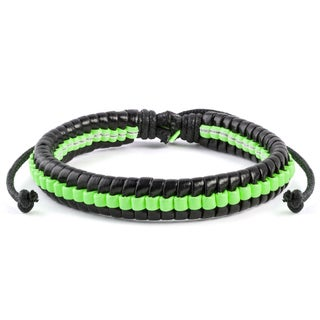 Neon and Black Leather Drawstring Bracelet (7.5 inches) (Option: Green)