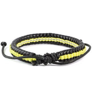 Neon and Black Leather Drawstring Bracelet (7.5 inches)