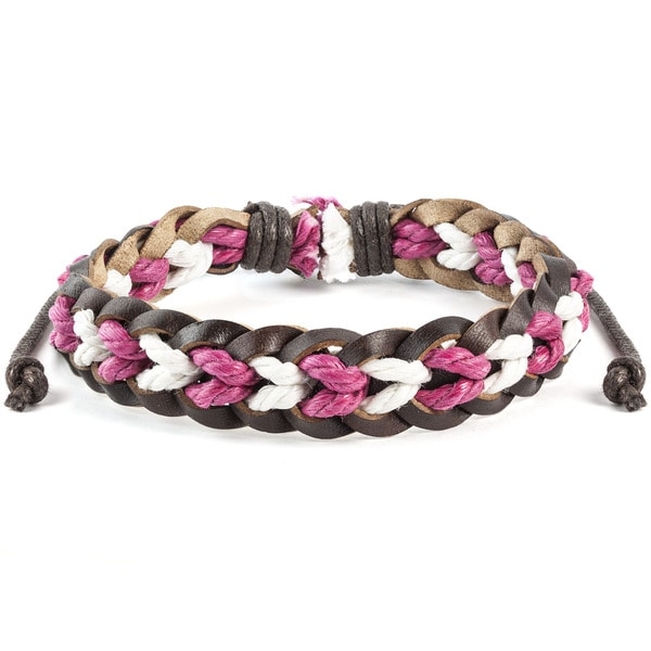 Brown, Pink and White Braided Leather Drawstring Bracelet (7.5 inches)