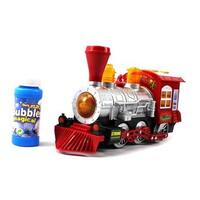 Steam Train Locomotive Engine Car Bubble Blowing Bump and Go Battery Operated Toy Train - Red