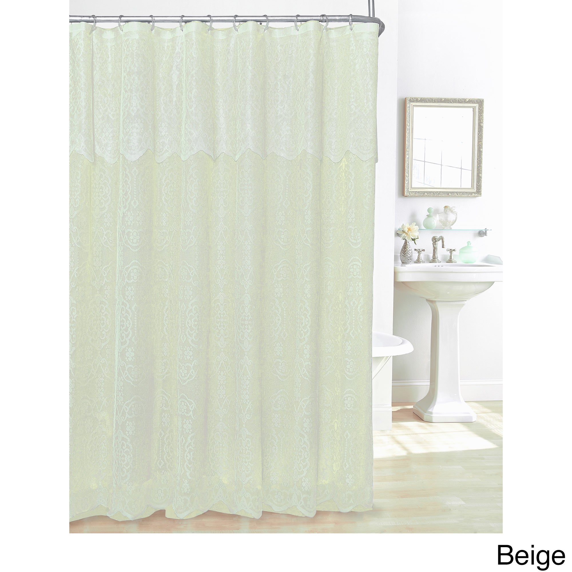 White Lace Shower Curtain Attached Valance Pink Liner Polyester ...