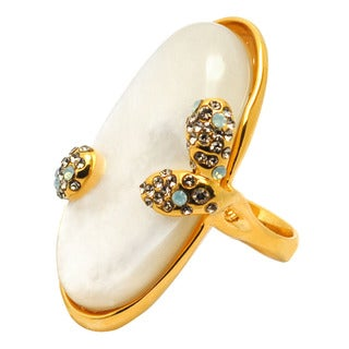 De Buman 18k Yellow Gold Plated Mother of Pearl Ring