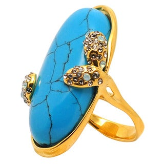 De Buman Yellow Gold Plated Turquoise Ring