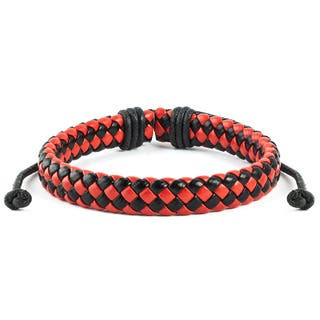 Red and Black Woven Leather Drawstring Bracelet (7.5 inches)|https://ak1.ostkcdn.com/images/products/10352164/P17461075.jpg?impolicy=medium