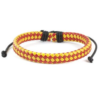 Red and Yellow Woven Leather Drawstring Bracelet (7.5 inches)