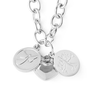Link to ELYA Stainless Steel Puffed Heart and Two Discs Charmed Necklace - Silver Similar Items in Bracelets