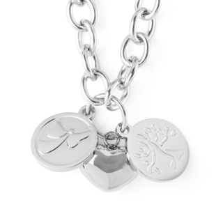 ELYA Stainless Steel Puffed Heart and Two Discs Charmed Necklace