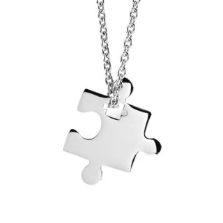 Women's Stainless Steel Jigsaw Puzzle Piece Pendant Necklace