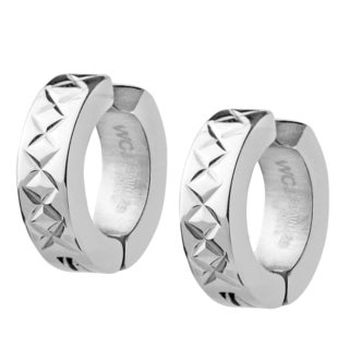 Stainless Steel Cross-Hatch Hoop Earrings