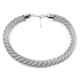 Women's Stainless Steel Twisted Mesh Necklace|https://ak1.ostkcdn.com/images/products/10352182/P17461091.jpg?impolicy=medium