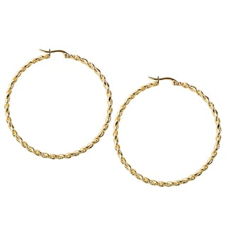 Women's Stainless Steel Goldtone Twisted Rope Hoop Earrings