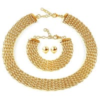 ELYA Gold Plated Stainless Steel Hollow Mesh Jewelry Set