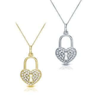 Auriya 2/5ct TW Heart Shaped Lock Diamond Pendant Necklace