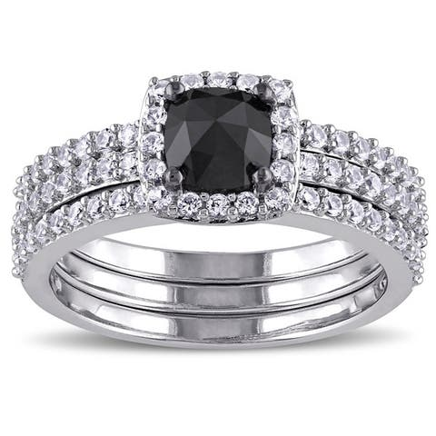 Miadora 10k White Gold 3/4ct TDW Black Diamond and Created White Sapphire Bridal Ring Set