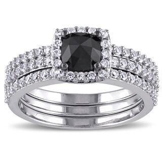 Miadora 10k White Gold 3/4ct TDW Black Diamond and Created White Sapphire Bridal Ring Set