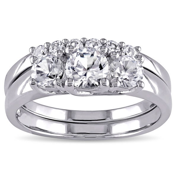 miadora 10k white gold created white sapphire bridal ring set - White Sapphire Wedding Ring Sets