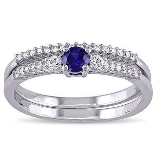 Miadora Silver Multi-gemstone and 1/10ct TDW Diamond Bridal Ring Set (G-H, I2-I3) (4 options available)