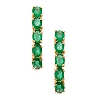 Anika and August 14k Yellow Gold Oval-cut Emerald Hoop Earrings