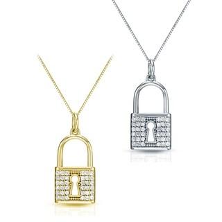 Auriya 14k Gold 2/5ct TDW Diamond Lock Pendant Necklace