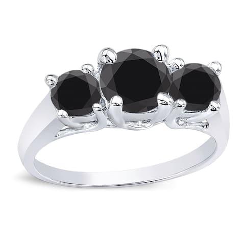 Auriya 14k Gold 3-Stone Black Diamond Engagement Ring 2ct TDW