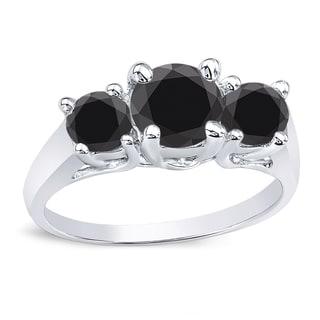Auriya 14k Gold 2ct TDW 3 Stone Black Diamond Engagement Ring