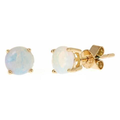 Anika and August 14k Yellow Gold Round-cut Australian Opal Stud Earrings