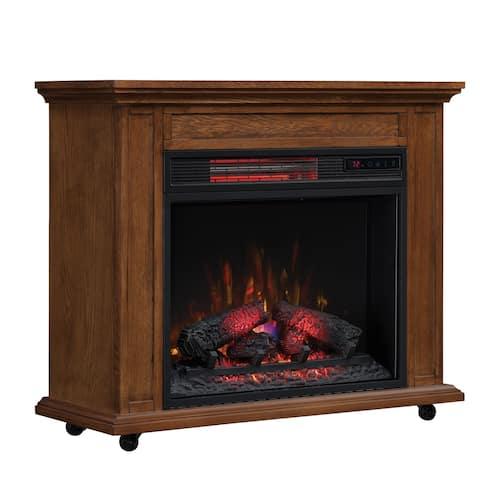 Rolling Mantel with Infrared Quartz Fireplace, Premium Oak