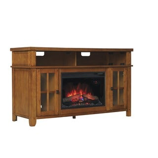 New Dakota 26-inch Indoor Classic Flame Electric Fireplace Media Mantel in Carmel Oak