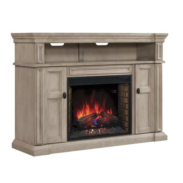 Wyatt 28 Inch Classic Flame Indoor Electric Infrared Fireplace Media Mantel In Soft White Free