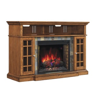 Lakeland 28-inch Classic Flame Indoor Electric Fireplace Media Mantel in Premium Oak