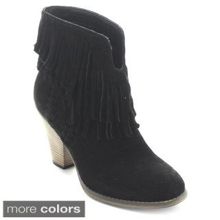 Nature Breeze Dallas-03 Women's V-Slit Strap Double Fringe Stacked Heel Booties