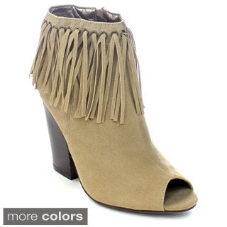 Adirana Jarlyn-33 Women's Stacked Chunky Heel Peep Toe Fringe Ankle Booties