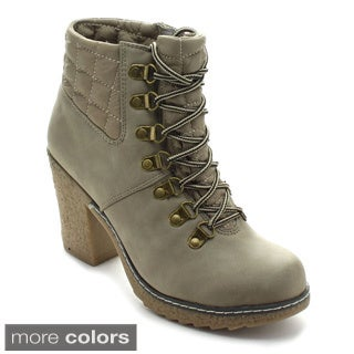 Nature Breeze Forest-02 Women's Quilt Lace Up Rubber Chunky Combat Ankle Booties