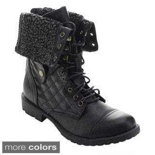 Nature Breeze Galaxy-02 Women Chic Qulit Lace Up Fold Over Cuff Mid Calf Boots