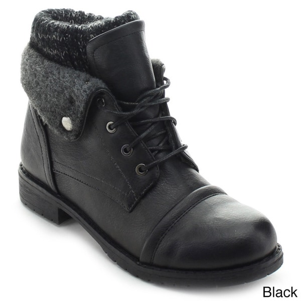 Nature Breeze Sweater-02 Women's Lace Up Fold Over Casual Combat Boots