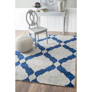 nuLOOM Geometric Trellis Fancy Blue Rug (8' x 10')