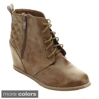 Nature Breeze Showy-01 Women's Quilt Lace Up Side Zipper High Wedge Booties