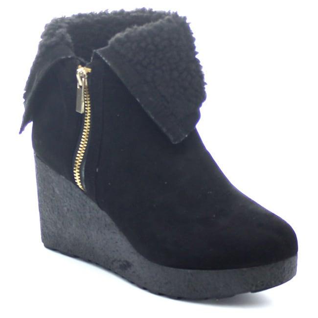 BAMBOO CREPE-01 Women/'s Faux Fur Cuff Down Side Zipper Platform Ankle booties