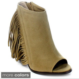 Adirana Leanna-20 Women's Chunky Stacked Heel Side Zipper Fringe Ankle Booties