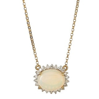 Anika and August 14k Yellow Gold Oval-cut Australian Opal and 1/4ct TDW Diamond Necklace (G-H, I1-I2)
